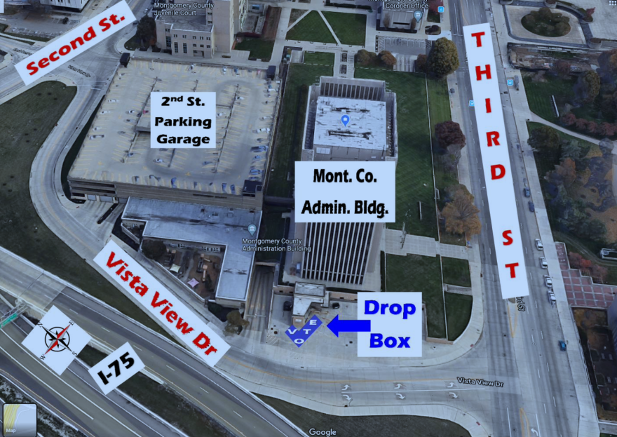 The Dropbox for the Montgomery County Board of Elections is located by the loading dock behind the Montgomery County Building, between 2nd and 3rd Streets, parallel to I-75.