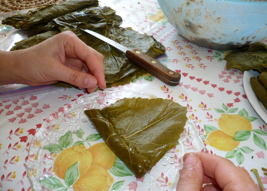 The author learns to fold the leaves with her grandmother in Boston in 2010.