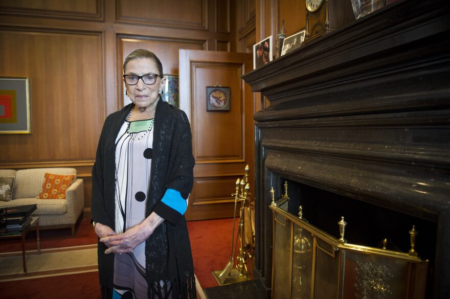 Associate Justice Ruth Bader Ginsburg is seen in her chambers in at the Supreme Court in Washington. The Supreme Court says Ginsburg has died of metastatic pancreatic cancer at age 87. (Cliff Owen/AP)