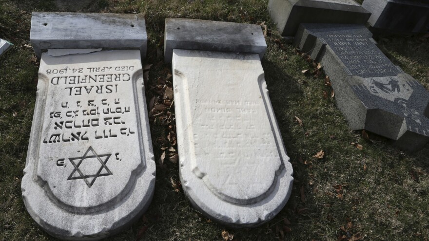 More than 100 headstones were vandalized at Mount Carmel, a Jewish cemetery in Philadelphia in February 2017.