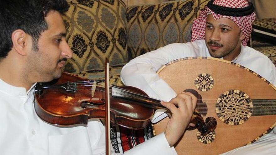 Ṣawt musicians during a performance in Kuwait in May 2014.
