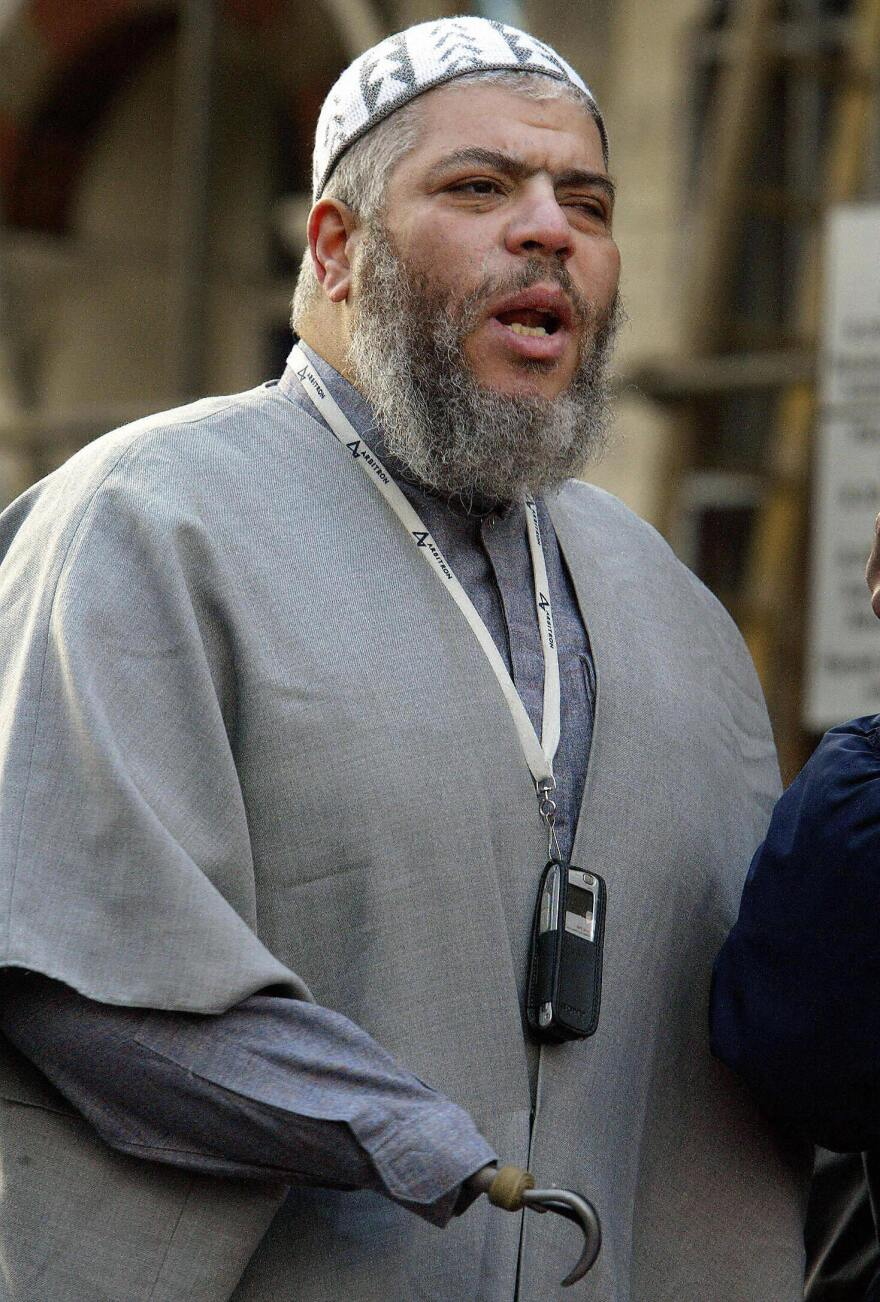 The British cleric Abu-Hamza al Masri, seen here in February 2003, is set to be extradited to the United States to face terrorism charges linked to the taking of 16 hostages in Yemen in 1998 and setting up a terrorist training camp in rural Oregon.