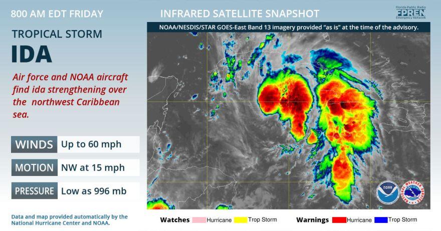 Tropical Storm Ida satellite image