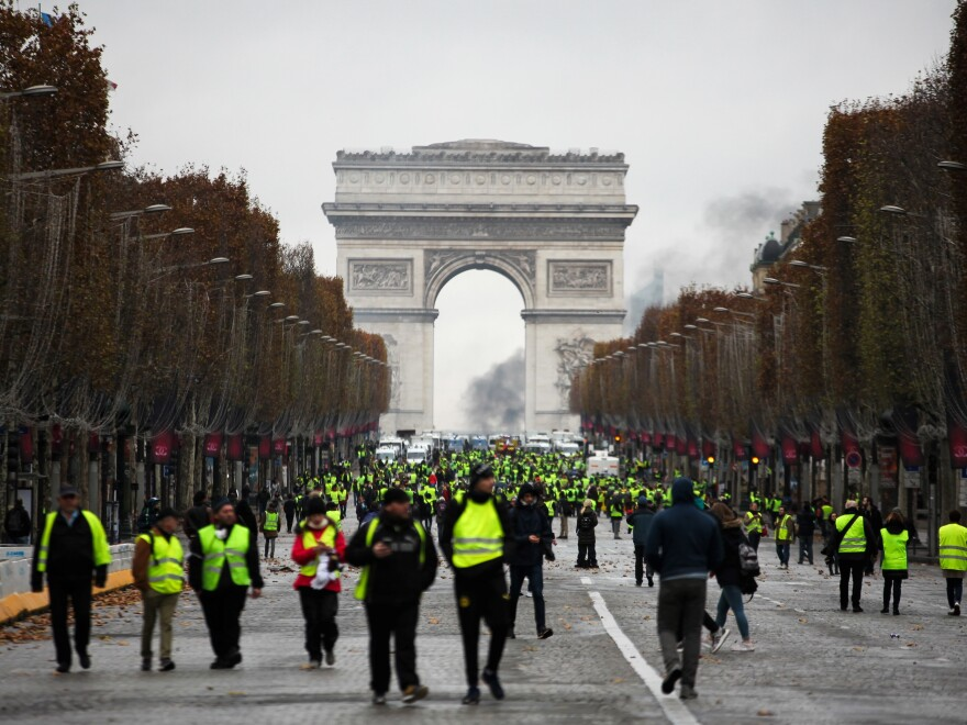 "The ""yellow vest"" protests began last month. Large demonstrations turned violent in Paris over the weekend."