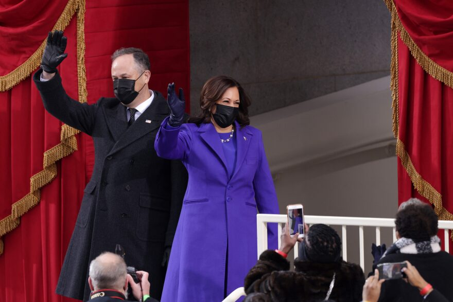 Vice President Kamala Harris and husband Doug Emhoff arrive to the inauguration of President Joe Biden on the West Front of the U.S. Capitol on Jan. 20, 2021 in Washington, DC. (Alex Wong/Getty Images)
