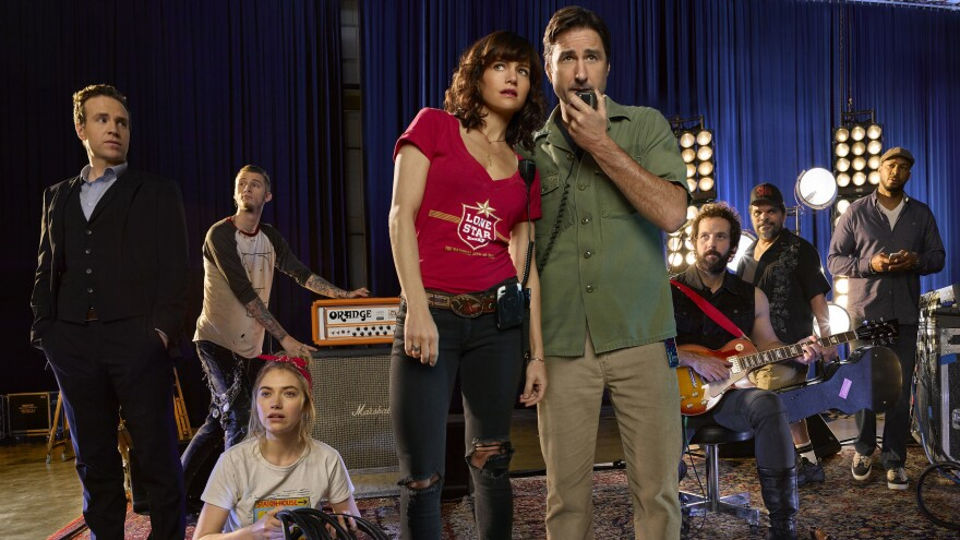 The cast of Showtime's <em>Roadies</em>, left to right, Rafe Spall, Colson Baker, Imogen Poots, Carla Gugino, Luke Wilson, Peter Cambor, Luis Guzman and Finesse Mitchell.