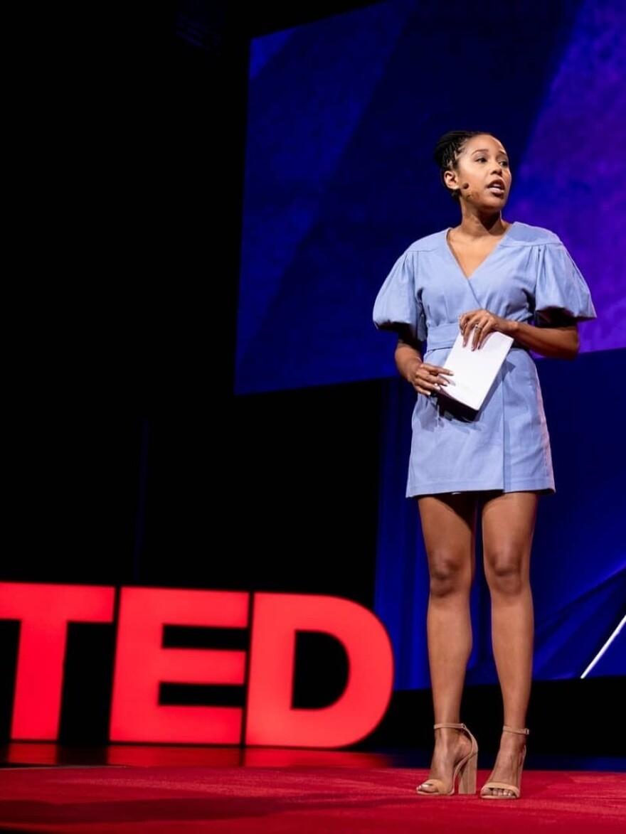 Whitney Pennington Rodgers speaks at TEDSummit: A Community Beyond Borders. July 21-25, 2019, Edinburgh, Scotland. Photo: Bret Hartman / TED