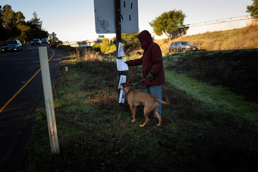 The California Department of Transportation is required to post notices of cleanups before clearing out homeless encampments on state property. But housing advocates, who say the agency doesn't always comply with the rules, are suing the state over seized belongings.