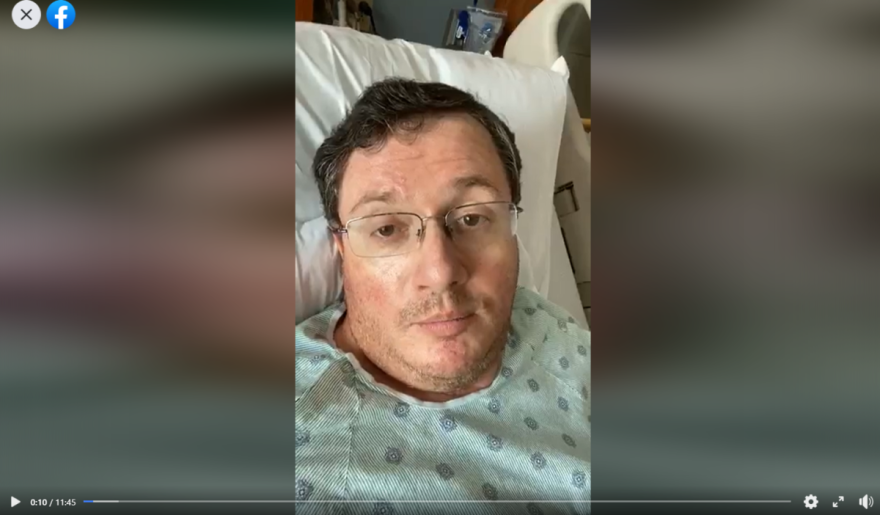 Florida State Rep. Randy Fine recorded a Facebook video from his hospital bed on Monday.