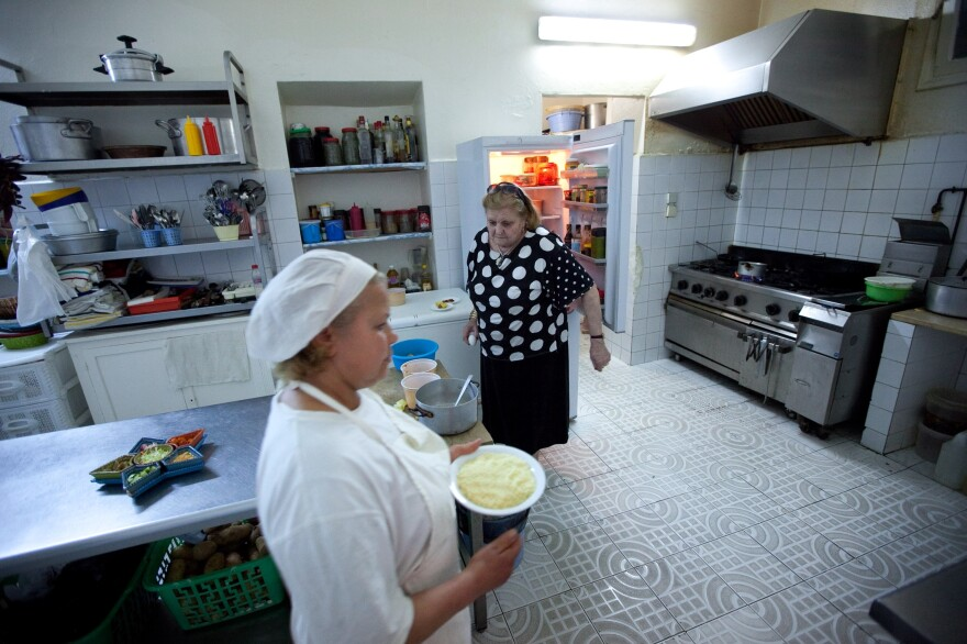 LaLoush's mother, Lily, and chef Hadia Ben Mahmoud prepare dinner in the family restaurant, Mamy Lily, during our visit in 2012.