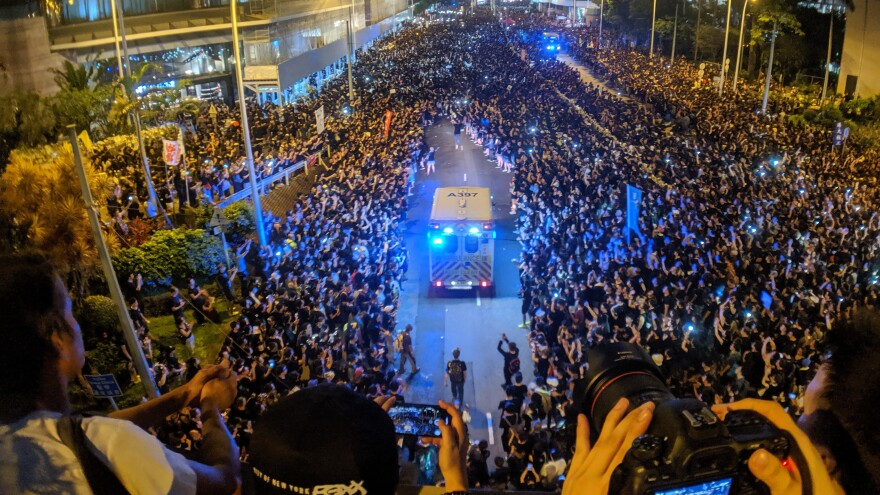 Activists in Hong Kong protest against an extradition bill on June 16.