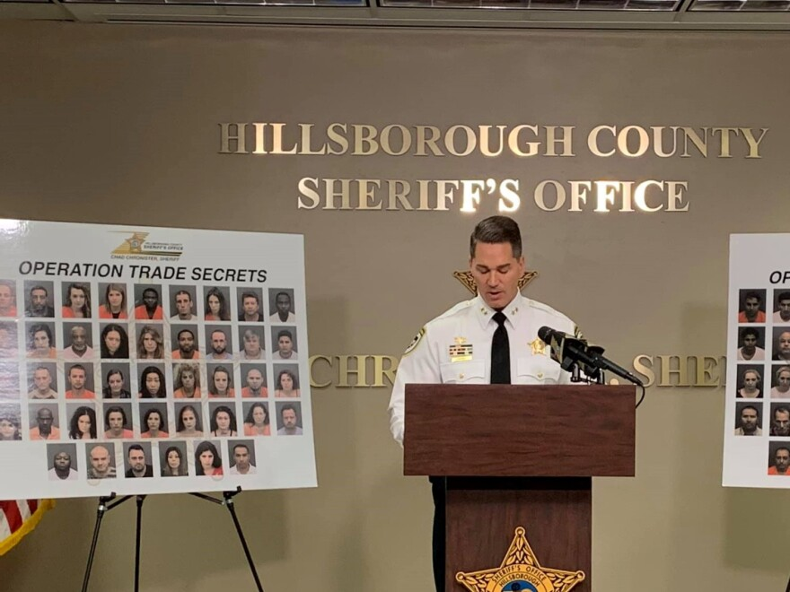 Sheriff Chad Chronister talked about the 80 arrests from Operation Trade Secrets at the Hillsborough County Sheriff's Office Monday.