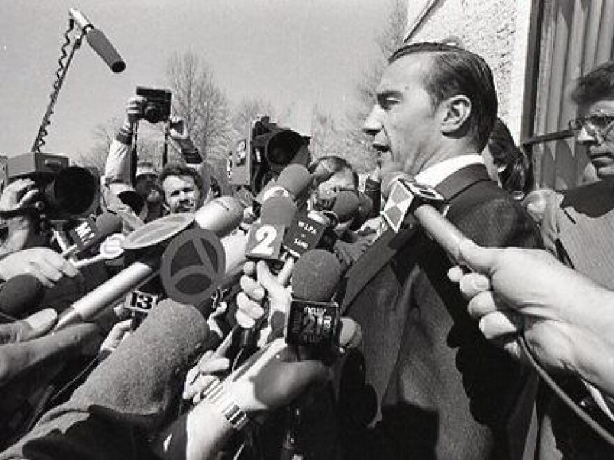 Jack Herbein, then vice president of generation for Metropolitan Edison, the company that operated Three Mile Island in 1979, takes questions from reporters outside the plant's visitors center the afternoon of the accident.