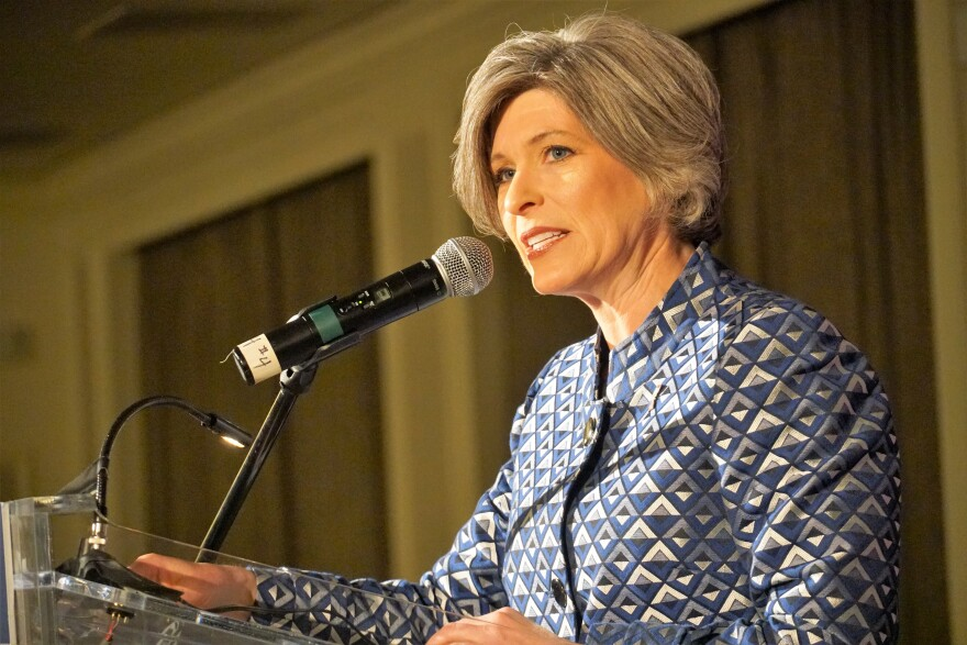U.S. Sen.  Joni Ernst speaks on Saturday, March 2, 2019, at Lincoln Days in Maryland Heights.