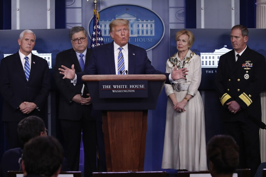 President Trump takes questions from reporters Monday. Joining him at the press briefing on coronavirus are Vice President Pence; Attorney General William Barr; Dr. Deborah Birx, White House coronavirus response coordinator; and Navy Rear Adm. John Polowczyk, who leads FEMA's task force on the supply chain.