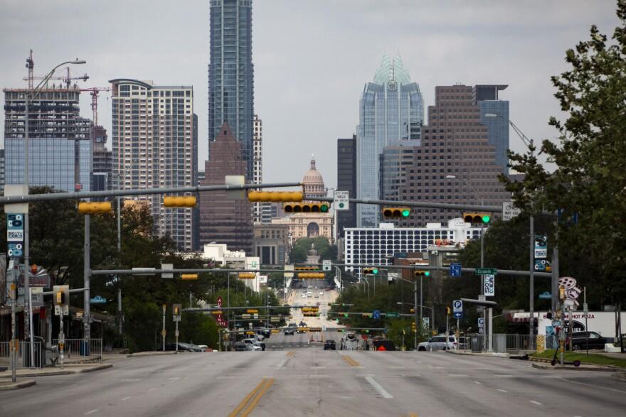 The Austin skyline during the coronavirus pandemic.