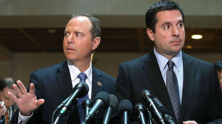 House intelligence committee Chairman Devin Nunes, R-Calif. (right), and ranking member Rep. Adam Schiff, D-Calif., speak to the media last year about committee's investigation into Russian interference in the 2016 presidential election.