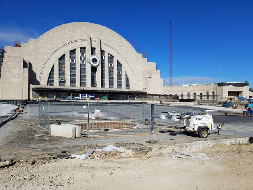 By October 2017, the front plaza and fountain had been removed in order to waterproof the museum spaces below. Each piece of limestone was tagged and stored to be cleaned and placed back in position.