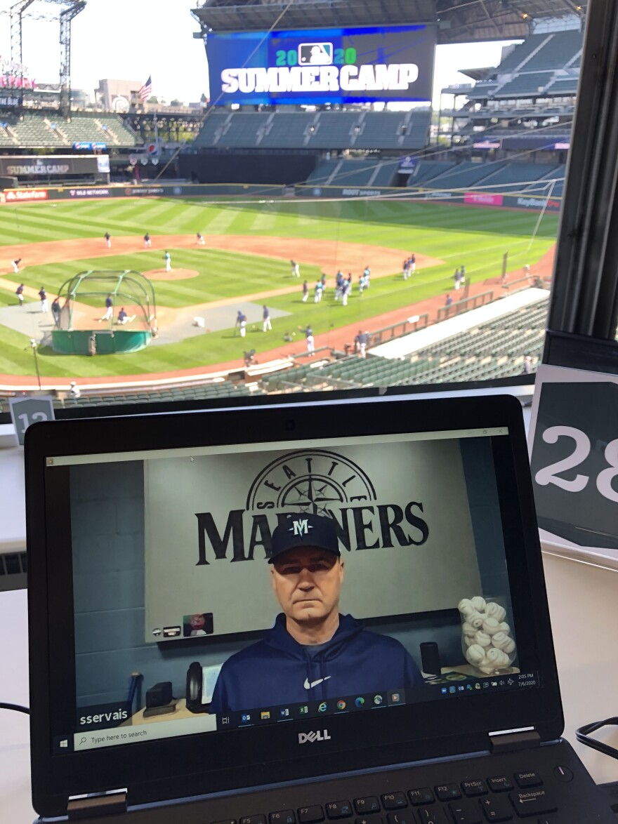 At the Seattle Mariners summer training, the team is only conducting interviews using Zoom. Mariners manager Scott Servais answers reporters questions via computer.