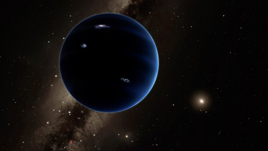 "The imagined view from ""planet nine"" back toward the sun. Astronomers think the huge, distant planet is likely gaseous, similar to Uranus and Neptune."