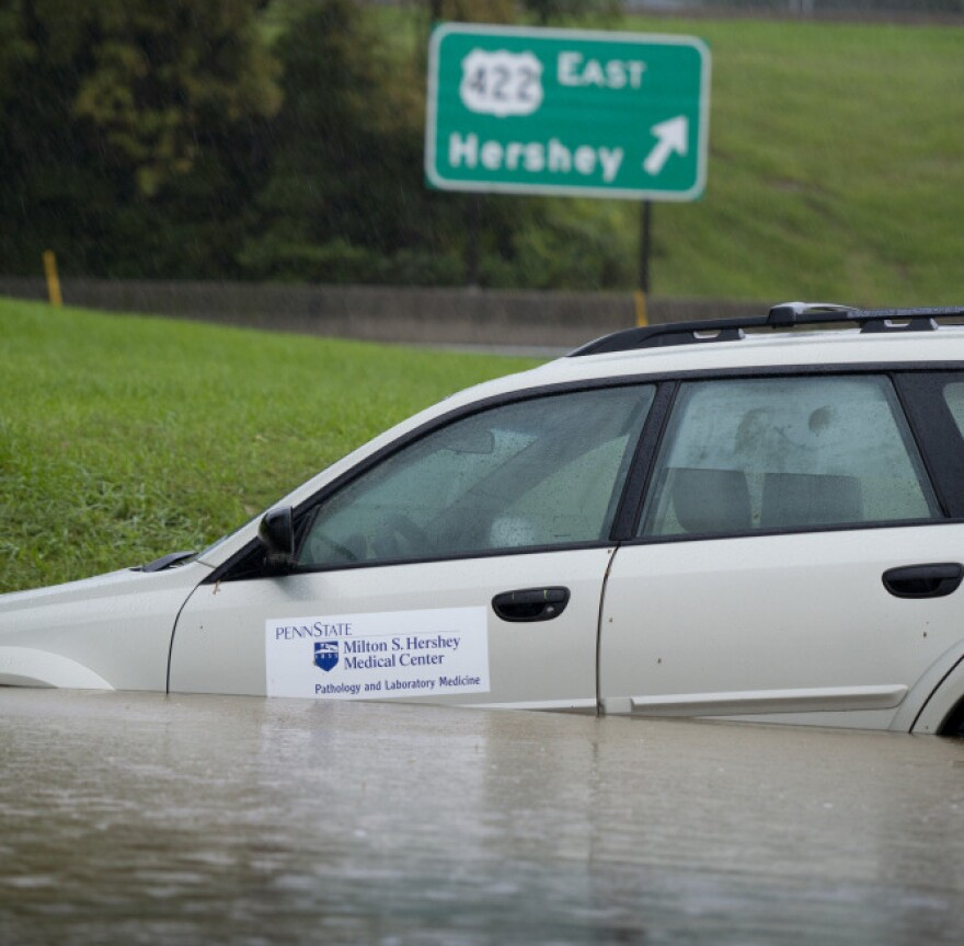 An abandoned vehicle is stranded less than a mile away from the Penn State Milton Hershey Medical Center in Hershey Pa. on Thursday.