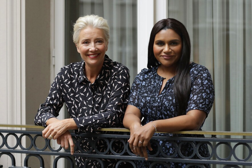"""Mindy Kaling, right, wrote the lead role in <em>Late Night</em> with Emma <em></em>Thompson in mind. They filmed the movie in a """"white heat of passion"""" in 25 days, Thompson says. They are pictured above in London in May 2019."""