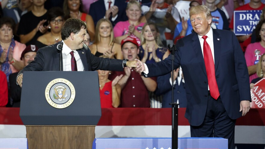 President Trump shakes hands with Ohio 12th District Republican nominee Troy Balderson during a rally last weekend in Lewis Center, Ohio.