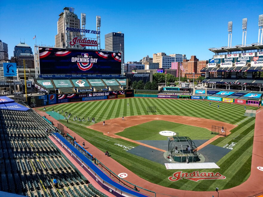 A photo of the view of home plate from the Cleveland Indians' press box on opening day.