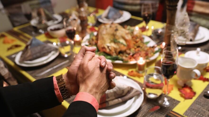 A Thanksgiving dinner table setting on November 24, 2016, in Stamford, Conn.