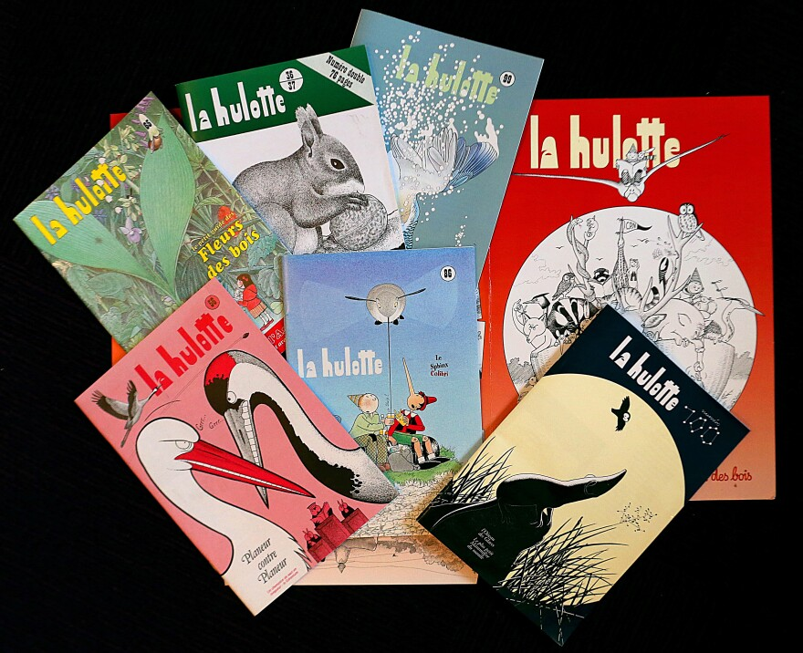 Pierre Deom has been writing and illustrating <em>La Hulotte</em> since 1972. He released his 100th issue (lower right) in November.
