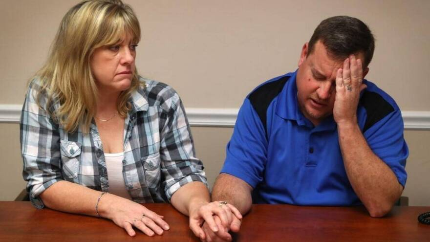 James Snead (right) and his wife Kimberly discussing their relationship with alleged Parkland school shooter Nikolas Cruz with reporters last weekend.