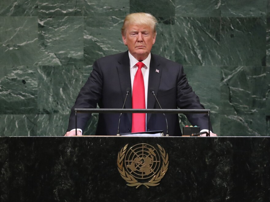 President Trump speaks before the U.N. General Assembly on Sept. 25, 2018. He'll address the assembly for the third time this week amid concerns about the role of U.S. leadership in the world.