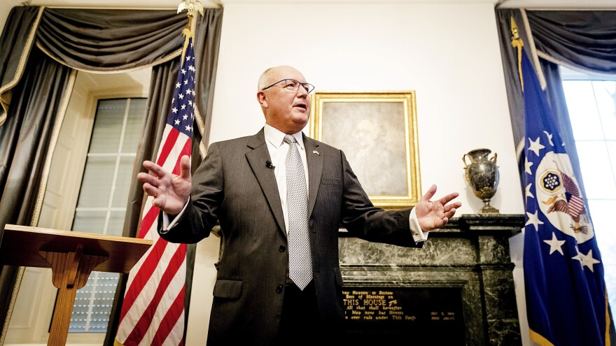 """U.S. Ambassador to the Netherlands Pete Hoekstra spoke at a tense news conference with Dutch reporters Wednesday at The Hague. On Friday, he said his 2015 anti-Muslim comments were """"wrong."""""""