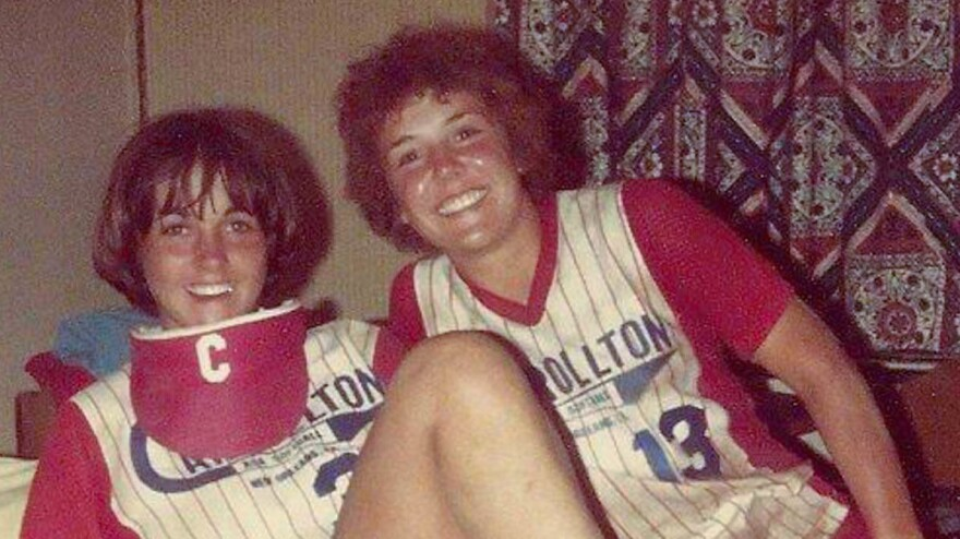 Liz Barnez (left) and Lori Daigle attended different all-girl Catholic schools in New Orleans, but they became close in 1981 while playing on the same traveling softball team.