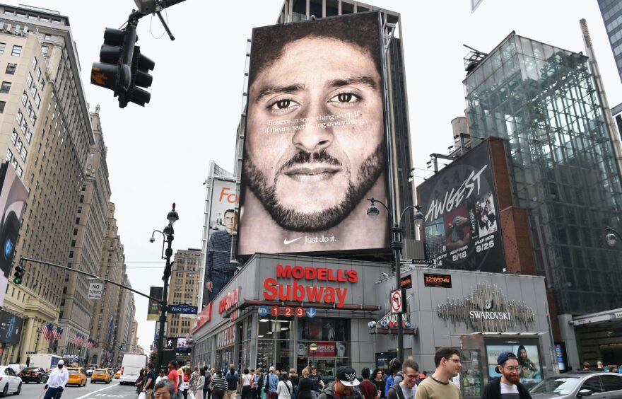A Nike Ad featuring American football quarterback, Colin Kaepernick, is on display in New York City.