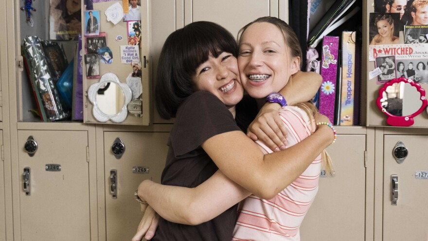 """""""There's not a lot of heroic acts in middle school ..."""" says <em>PEN15</em> creator and star Maya Erskine (left, shown here with co-creator and co-star Anna Konkle). """"It's all about survival and being accepted."""""""