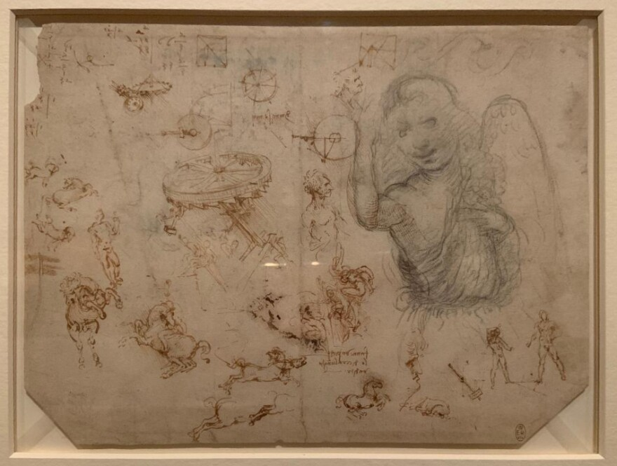 "Viewing Leonardo da Vinci's sketches, ""You can really get into his brain and try to see how he thought,"" says biographer Serge Bramly."