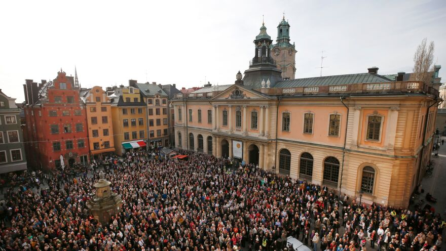 Protesters gathered earlier this month outside Stockholm's Old Stock Exchange building, where the Swedish Academy meets. Demonstrators showed support for resigned Permanent Secretary Sara Danius by wearing her hallmark tied blouse.