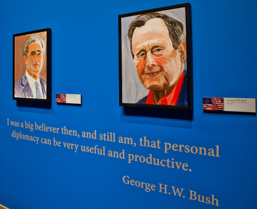 """Former President George W. Bush says his favorite from among the portraits he's painted of world leaders is the one he did of his father, former President George H.W. Bush. """"I painted a gentle soul,"""" he says."""