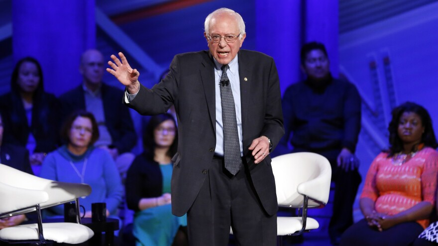 Democratic presidential candidate Sen. Bernie Sanders, I-Vt., speaks during a CNN town hall at Drake University in Des Moines, Iowa, on Monday.