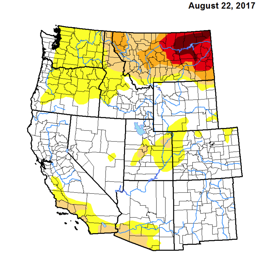 Drought monitor map showing normal conditions in the region.
