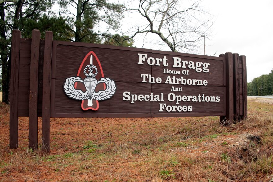 A sign at Fort Bragg, N.C., one of the army bases named after a Confederate leader. As the nation erupts in protests over police treatment of African Americans, these base names are coming under scrutiny — again.