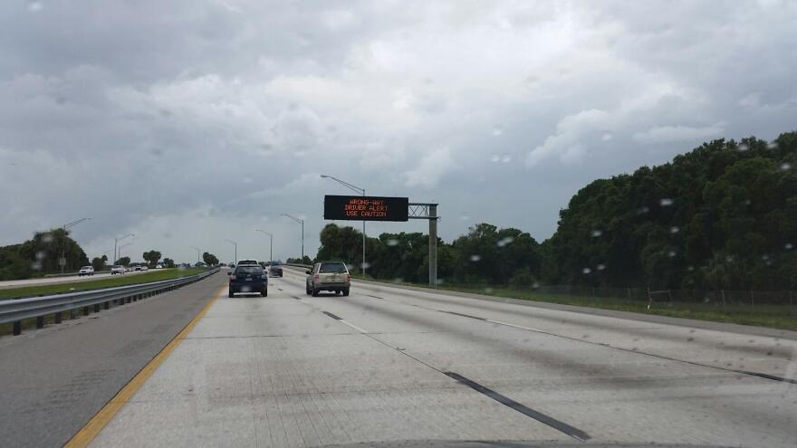 A sign on Interstate 275 in St. Petersburg alerts motorists of a wrong-way driver.