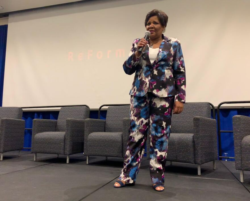 Alice Marie Johnson, who was released from prison last year after serving 20 years, speaks about the need for criminal justice reform during an event at Florida International University.
