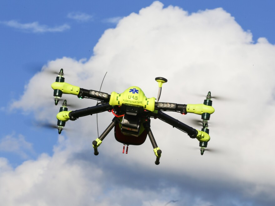 Drones carrying automated external defibrillators got to the sites of previous cardiac arrest cases faster than ambulances had, according to test runs conducted by Swedish researchers.