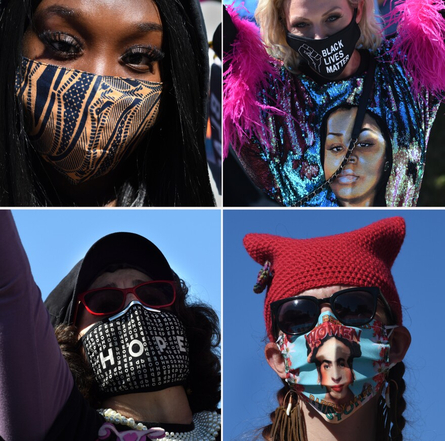 Protestors wore a variety of masks in Washington, D.C.