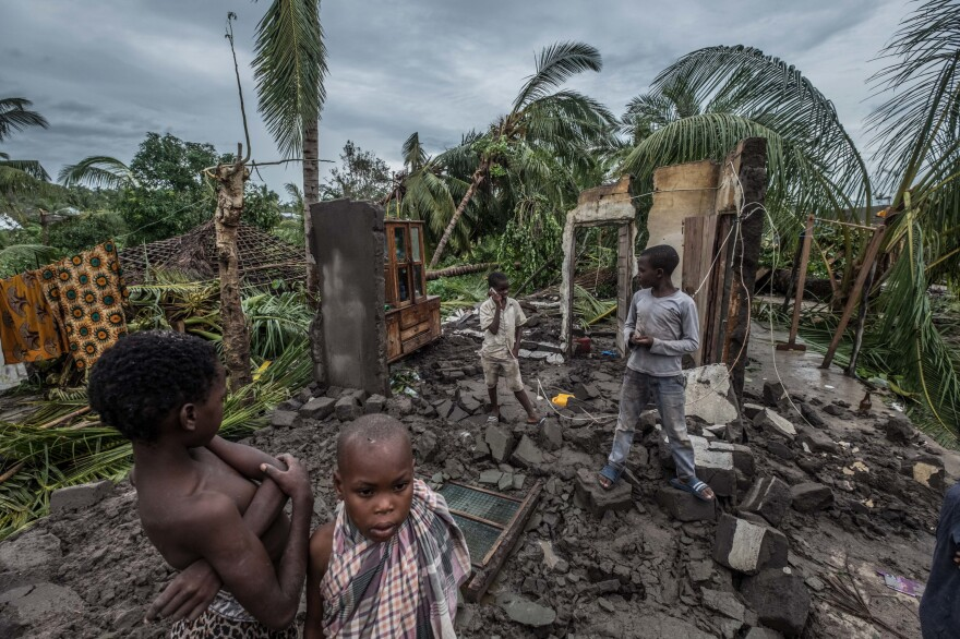 This is what's left of one family's house in the town of Macomia in Mozambique after Cyclone Kenneth hit on Thursday. It was the second intense cyclone to strike the country in six weeks.