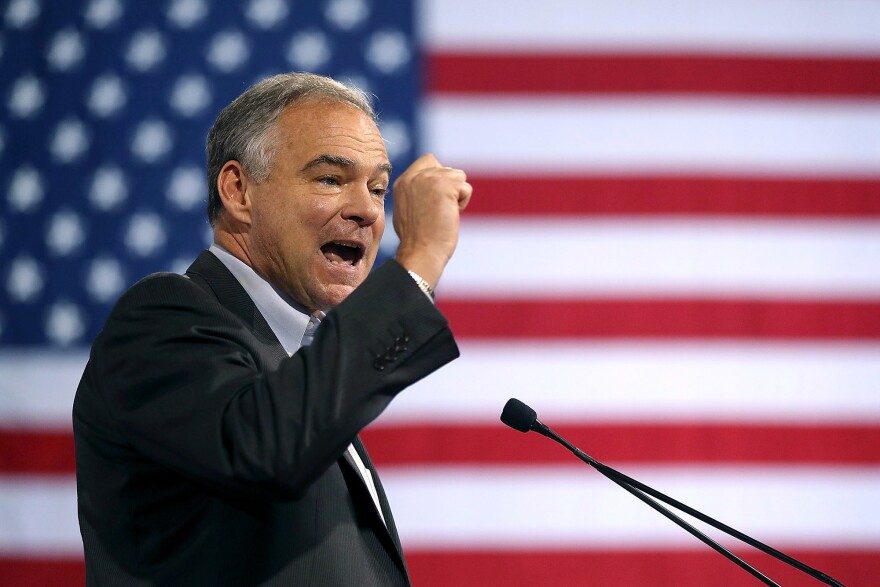 Virginia Sen. Tim Kaine counted health care policy among his chief concerns at a campaign rally for Hillary Clinton in Miami on July 23.