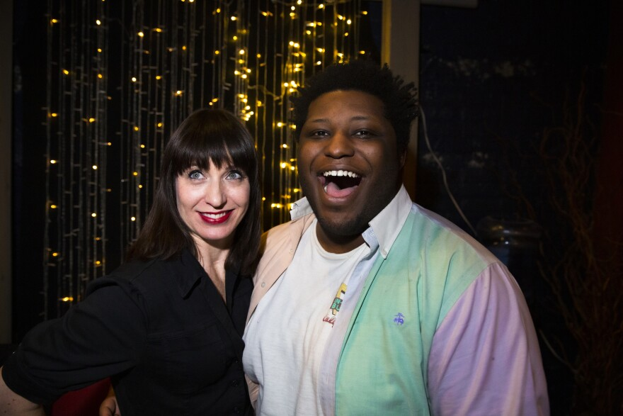 <em>Ask Me Another</em> host Ophira Eisenberg and Larry Owens backstage at the Bell House in Brooklyn, New York.