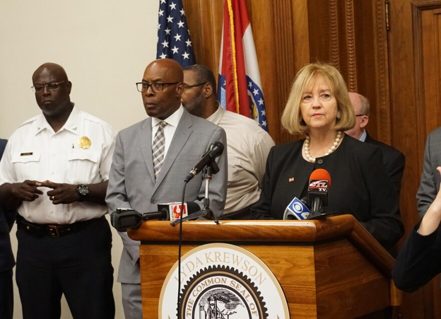 Mayor Lyda Krewson touts the city's Criminal Justice Coordinating Council on July 17, 2019 with Public Safety Director Jimmie Edwards and Police Chief John Hayden. Hayden will be a member of the council.